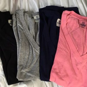 VS Pink Vneck Tees Collection of 4